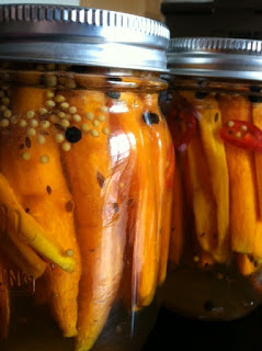 Canning Carrots and lovely Green Tomatoes!