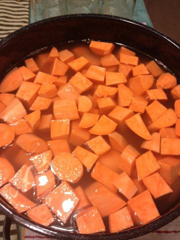 Cut the Sweet Potatoes into cubes