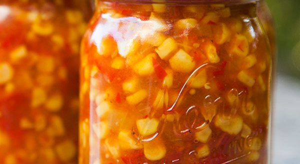 Corn relish with peppers and onion