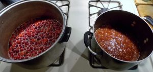 Cranberry mixture on the left and BBQ base on the right