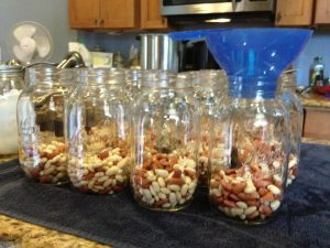 In hot sterilized jars, start with 1-2 inches of beans that have been soaked and drained