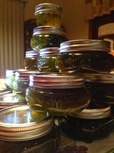 beautiful jars of green jalapeno jelly!