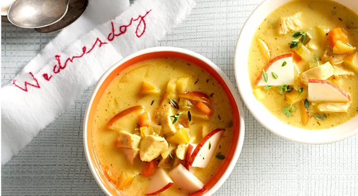 Chicken and apple curry thick soup