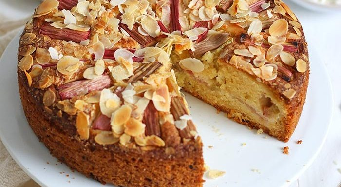 Almond citrus cake with rhubarb compote