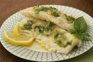 Baked halibut with basil lemon vinaigrette