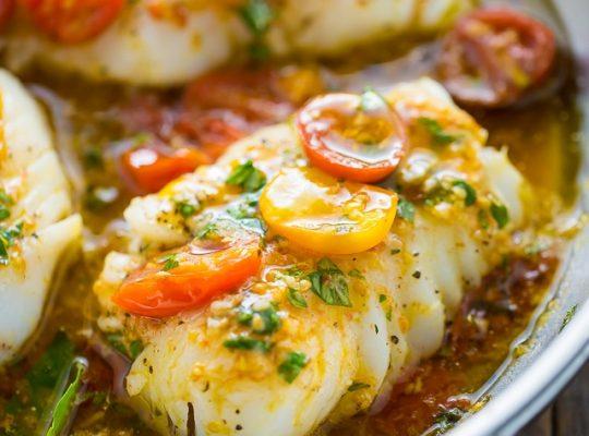 Baked halibut with basil lemon vinaigrette