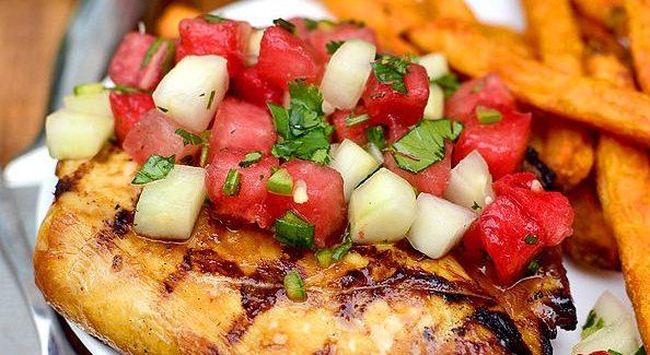 Chicken and watermelon salsa