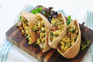 Curry chicken salad in pita bread