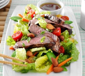 Grilled steak-asian style salad