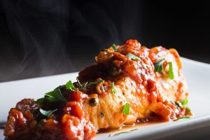 Halibut braised in tomato sauce