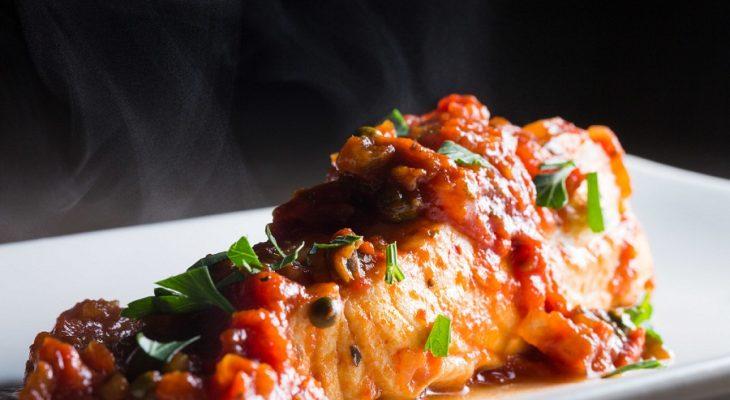 Halibut braised in tomato sauce