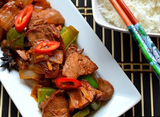 Spicy pork & peppers