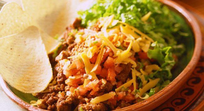 Vegetarian rice-bean taco salad