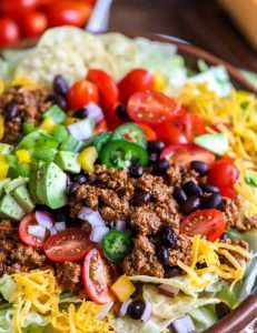 Vegetarian rice-bean taco salad